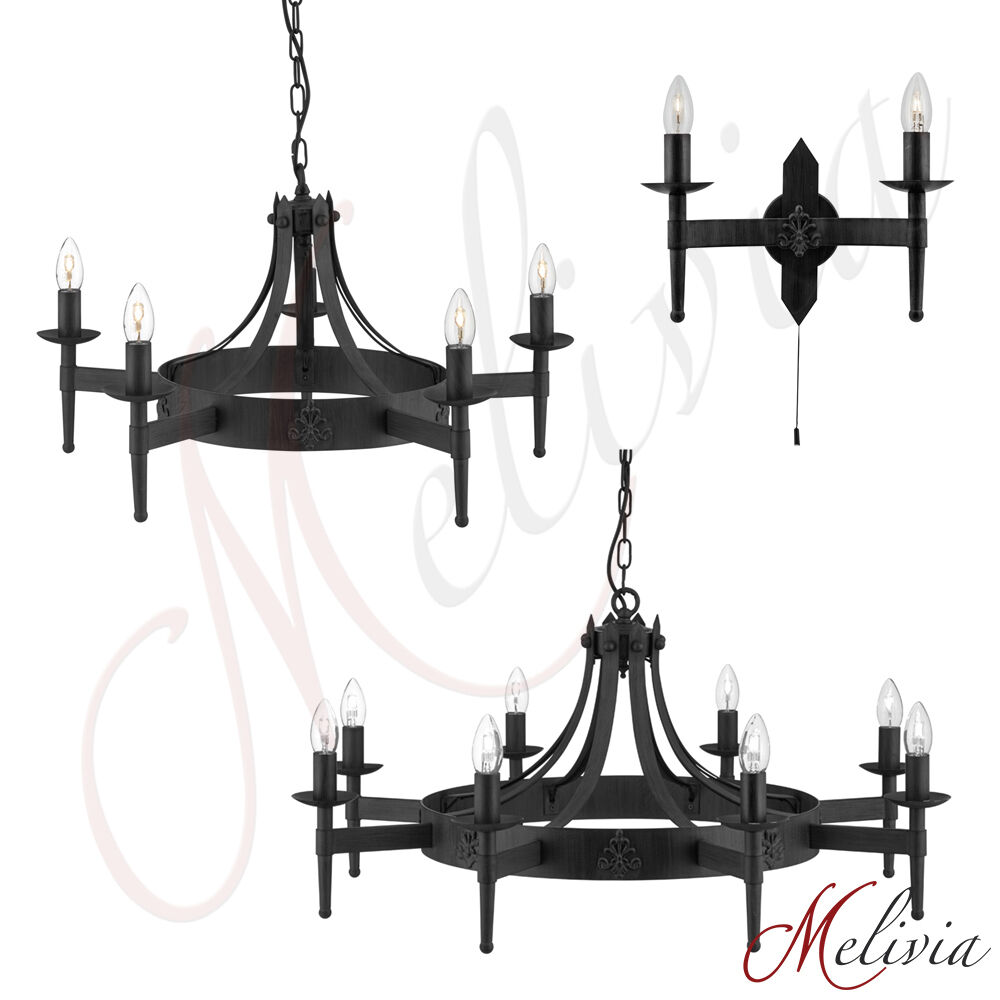 kronleuchter wandlampe eisen massiv schwarz h ngelampe pendelleuchte rustikal ebay. Black Bedroom Furniture Sets. Home Design Ideas