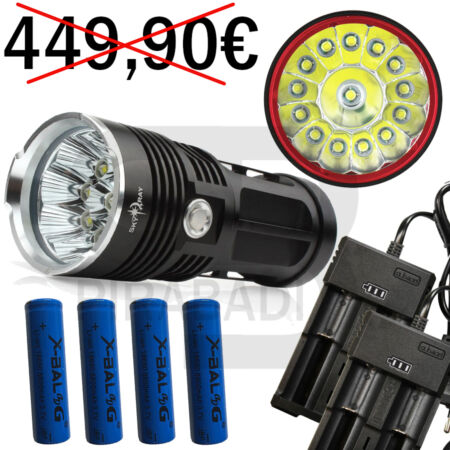 img-LAMPE TORCHE 14 LED 34000 LUMENS LED FLASHLIGHT POLICE + 4 PILES + 2 CHARGEUR