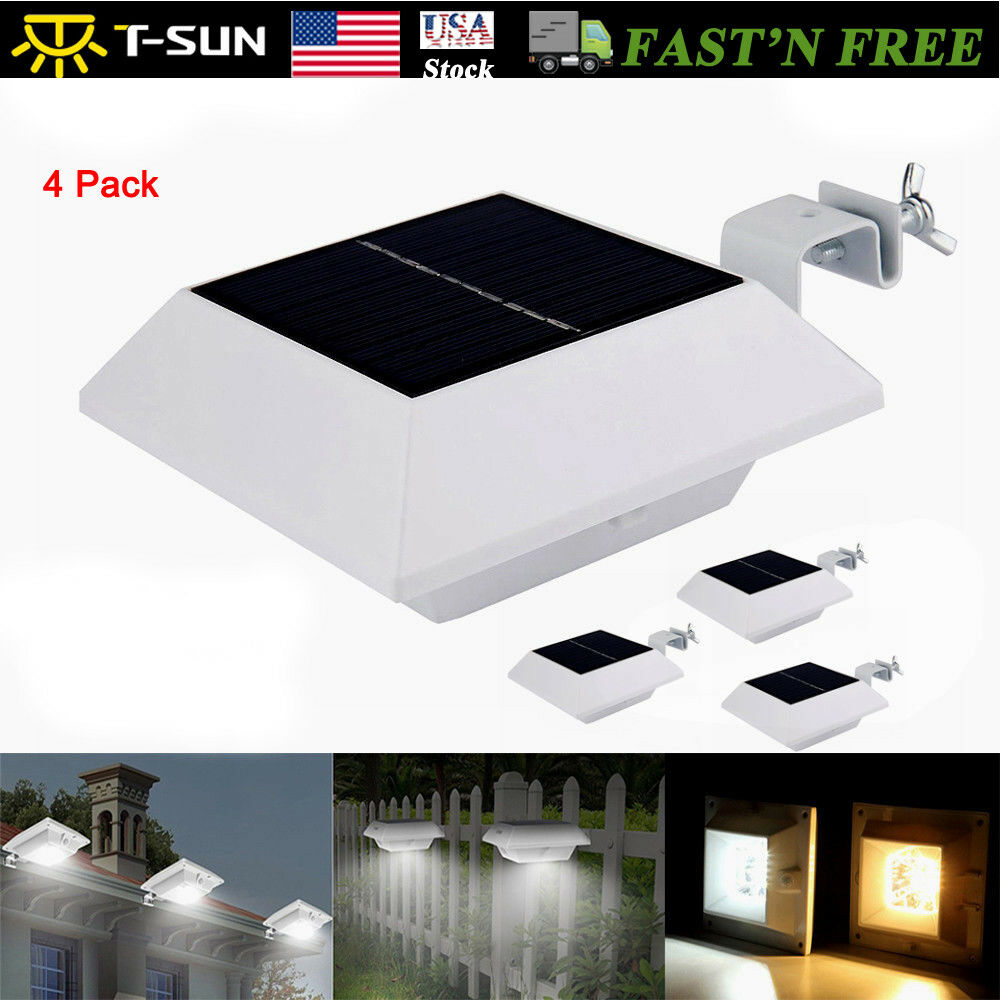 4pack Solar Powered 6 Led Gutter Light Roof Lamps Outdoor