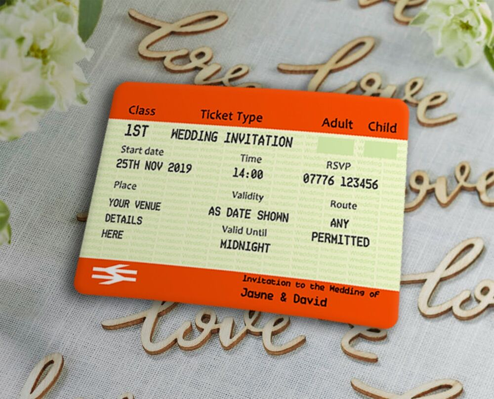 Wedding Invitations Pack of 20 Personalised Train Ticket Themed | eBay