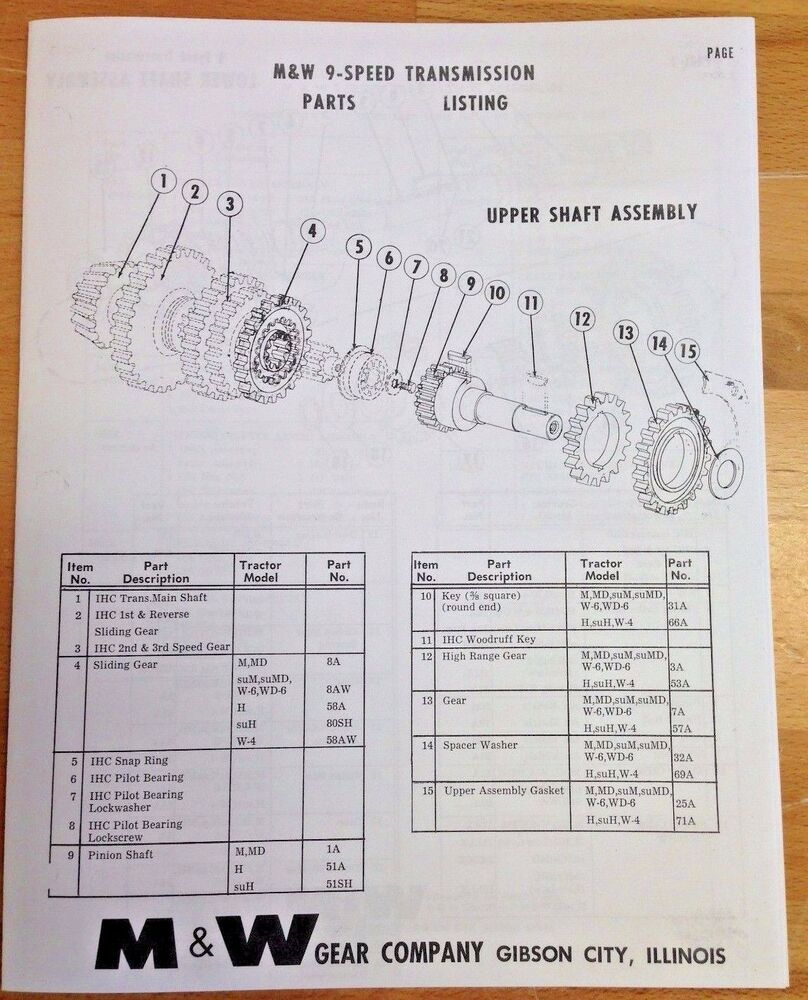 Mw Gear Co 9 Speed Transmission Ih Farmall H M Super Mta Parts Md Wiring Diagram List Manual Ebay