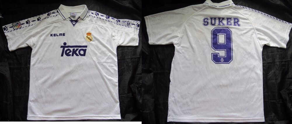 1a8e9695106 Details about Davor Suker  9 REAL MADRID RETRO home shirt jersey KELME 1996- 1997 adult SIZE XL