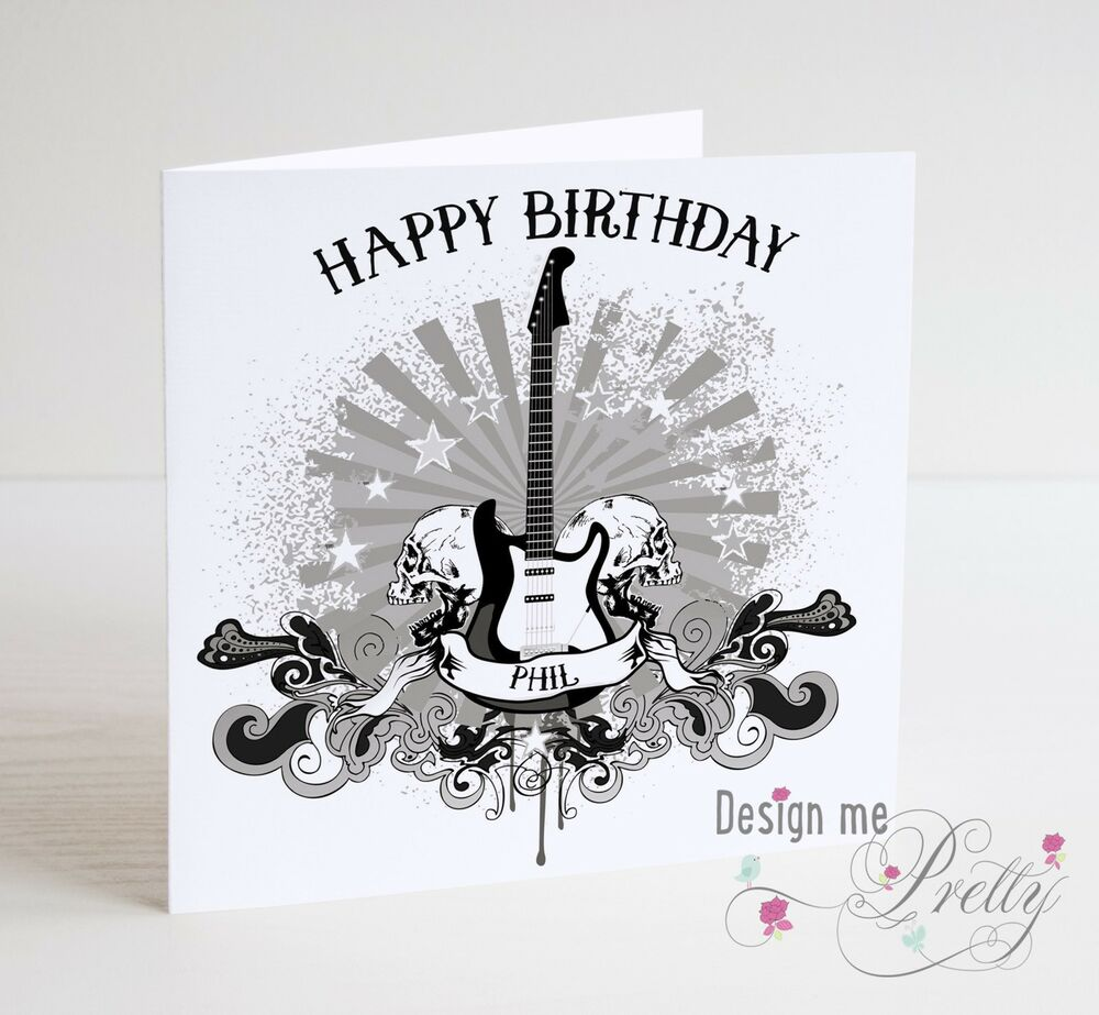 Details About PERSONALISED GUITAR AND SKULLS Birthday Card