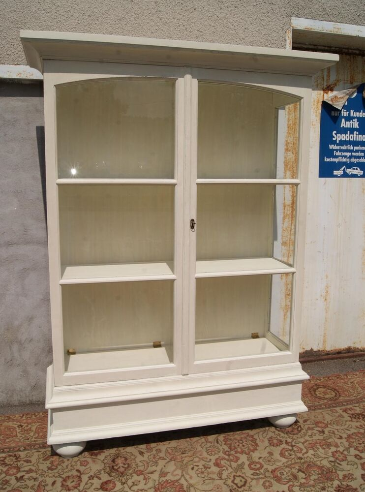 kleine vitrine schrank in weiss shabby chic landhaus ebay. Black Bedroom Furniture Sets. Home Design Ideas