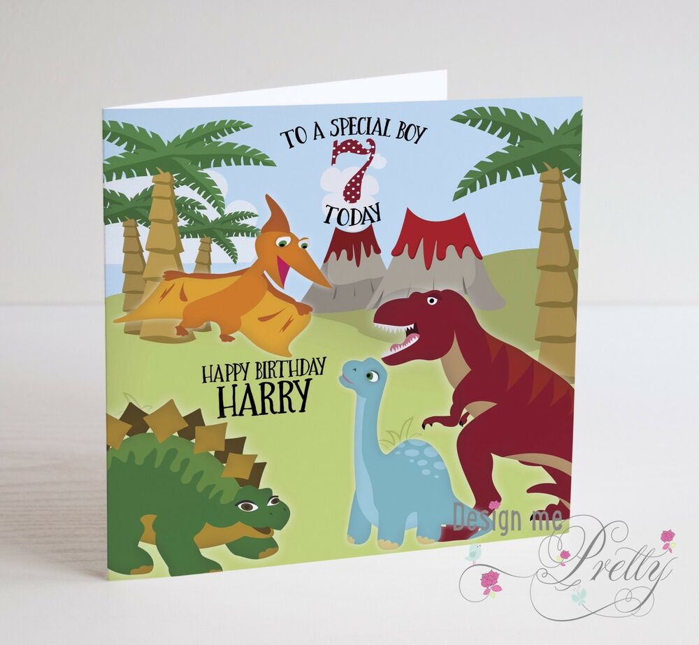 Dinosaurs birthday child greeting cards ebay personalised dinosaur birthday card boys childs son grandson 2 3 4 5 6 7 8 bookmarktalkfo Images