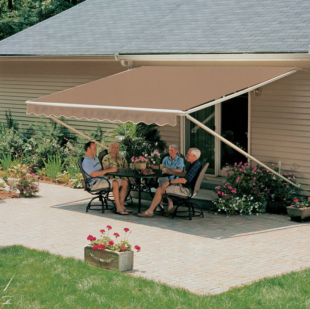 14x9 ft sunsetter manual retractable awning 900xt model for Motorized outdoor patio shades