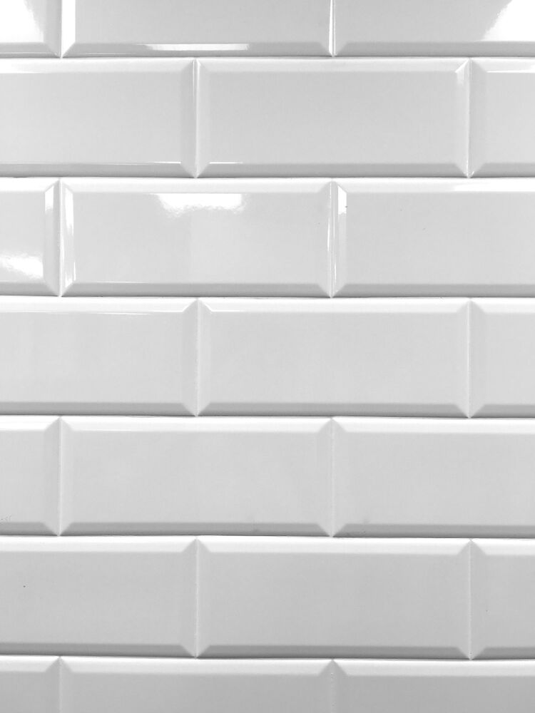 White 4x10 Beveled Shiny Ceramic Subway Tile Backsplash