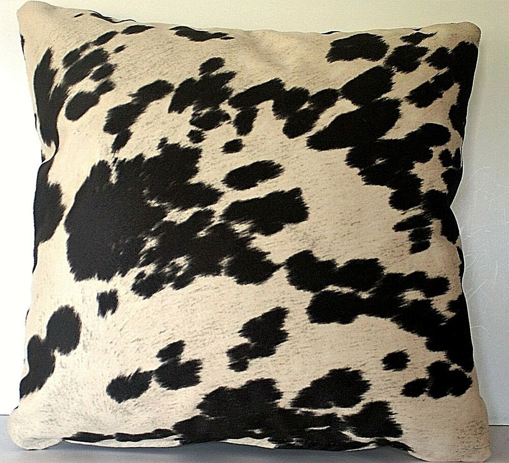 Black White Tan Throw Pillows : large cowhide black white brown faux fur throw pillows western handmade usa eBay
