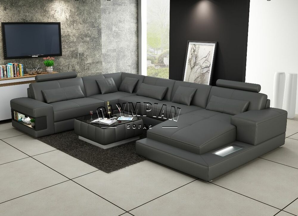 Modern Large Leather Sofa Corner Suite New Grey U Shape