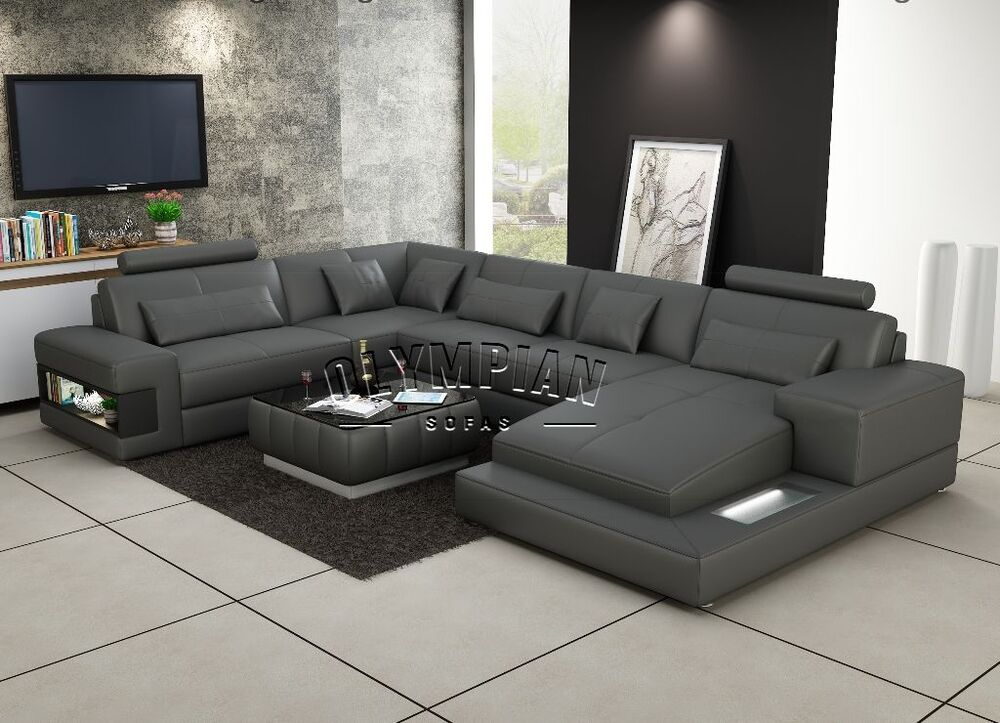 modern large leather sofa corner suite new grey u shape modular ebay. Black Bedroom Furniture Sets. Home Design Ideas