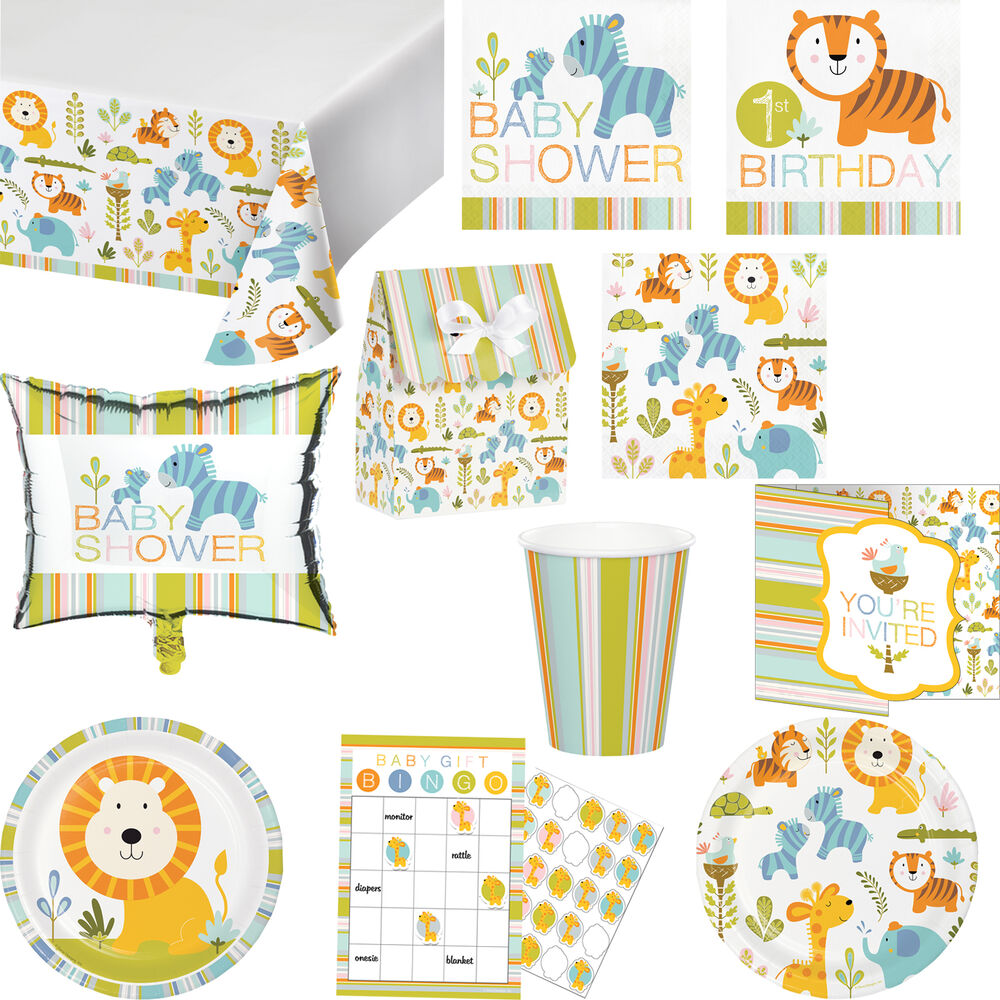 Happy Jungle Animals Baby Shower Birthday Party Tableware