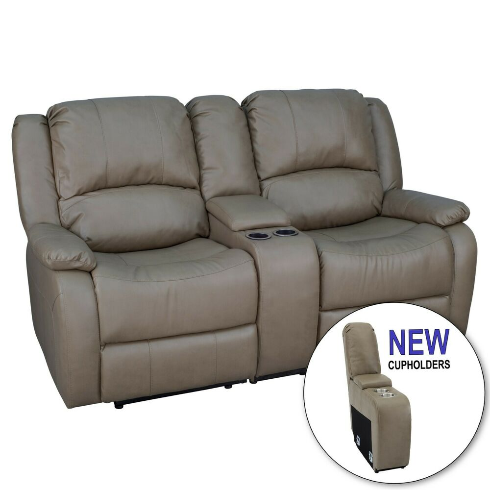 Recpro Charles 67 Double Rv Zero Wall Hugger Recliner Sofa W Console Putty Ebay
