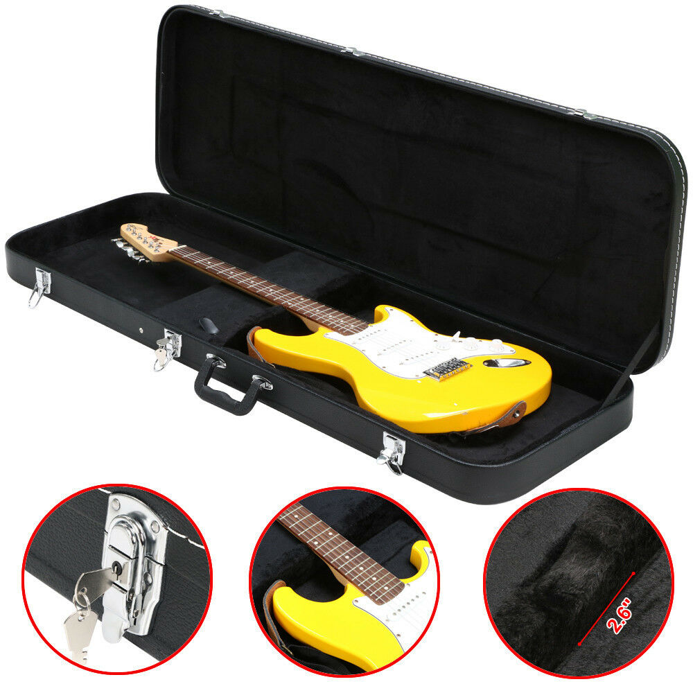 bass guitar hard case fits most standard electric bass guitars hardshell black 811501026334 ebay. Black Bedroom Furniture Sets. Home Design Ideas