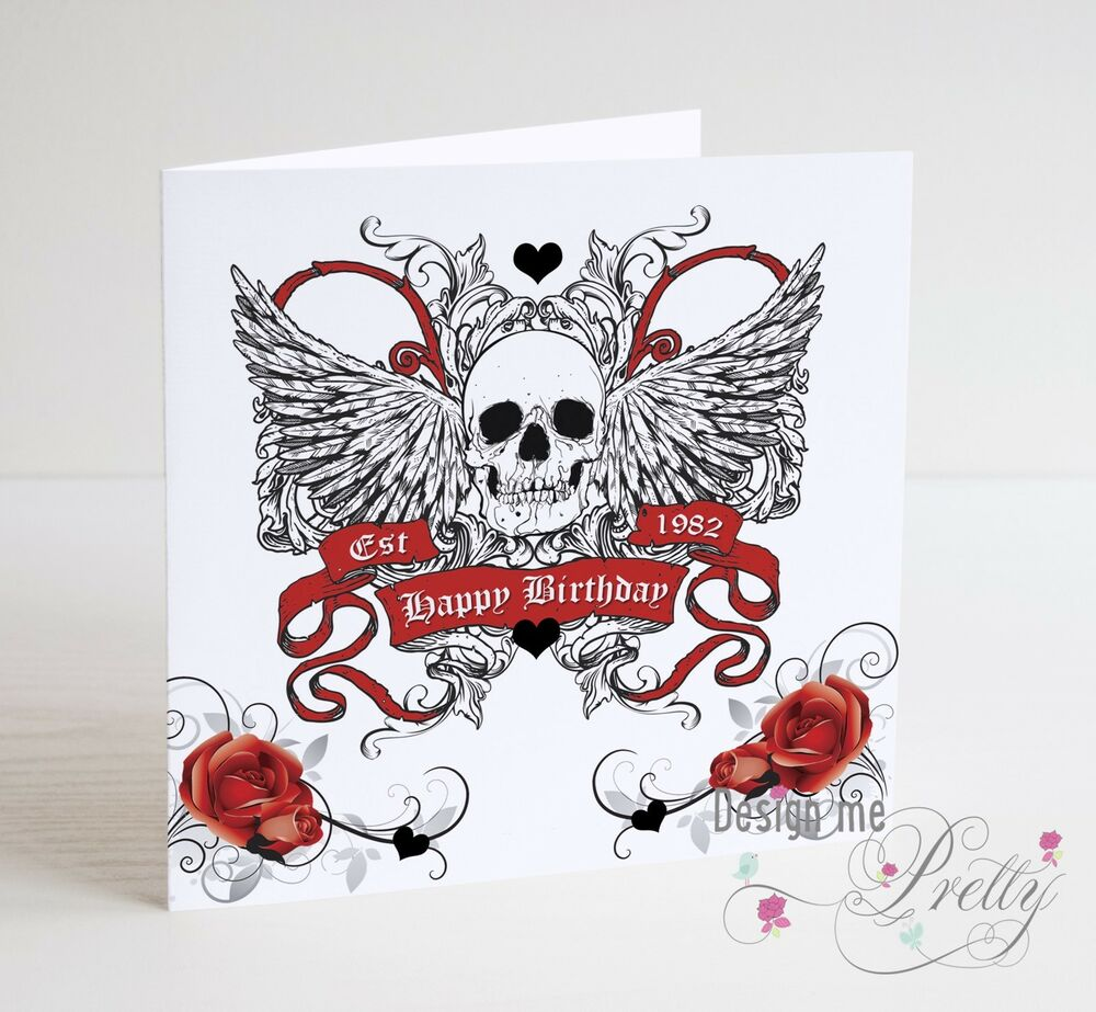Gothic birthday card ebay skull and wings personalised birthday card biker tattoo rocker goth punk kristyandbryce Choice Image