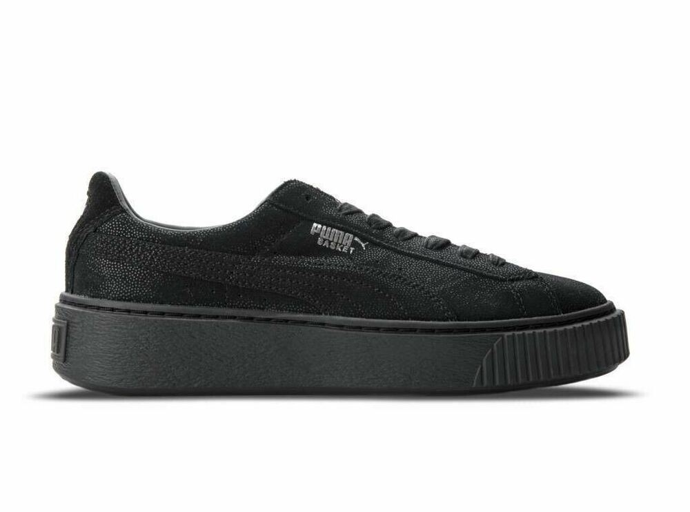 new product 5ca74 4db7d [363313-04] Womens Puma Basket Platform Reset - Black Creeper Sneaker | eBay