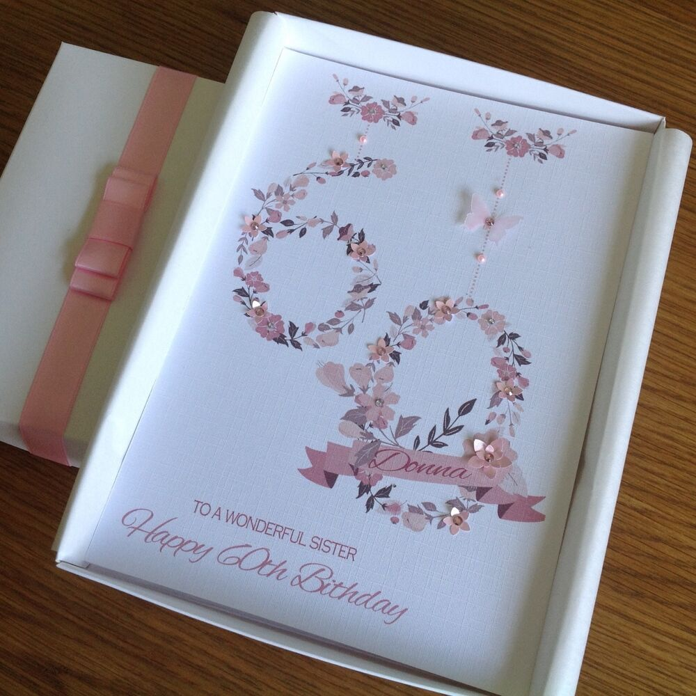 Details About Personalised HANDMADE Birthday Card MUM DAUGHTER 40 50 60 GIFT BOX Or ENVELOPE