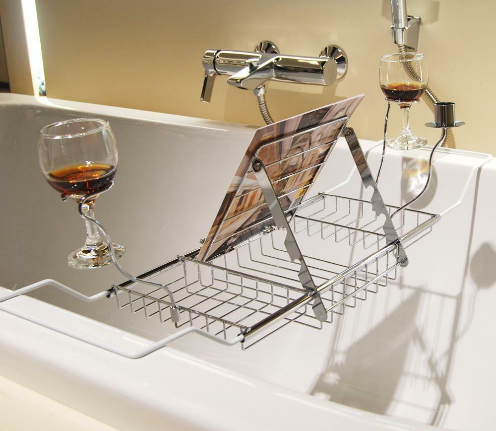 Bathtub Caddy Tray With Reading Rack And Wine Glass Holder