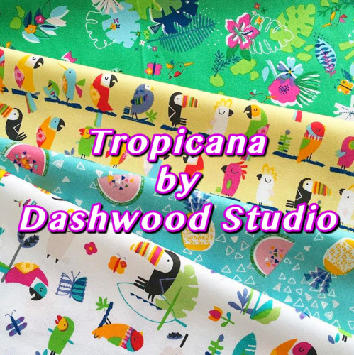 Dashwood Studio Club Tropicana Tropical Toucan Fruit Cotton Patchwork Fabric