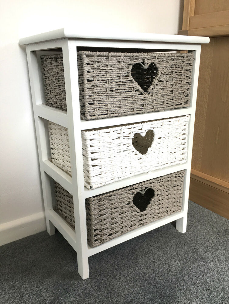 Grey White Storage Cabinet Bathroom Wicker Baskets Nightstand Shabby Chic Drawer Ebay