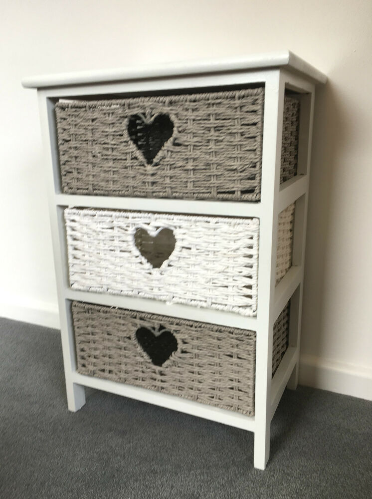 Grey Bedside Tables: White Grey Storage Unit Chest Wicker Drawers Girls Bedroom