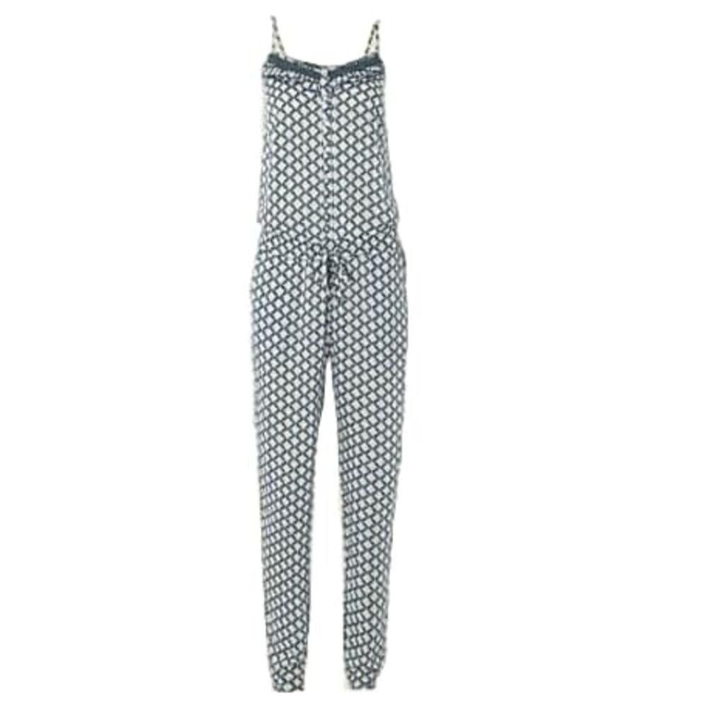 50bcd214a2e Details about White Stuff Green Diamond Print Strappy Jumpsuit with Narrow  Legs