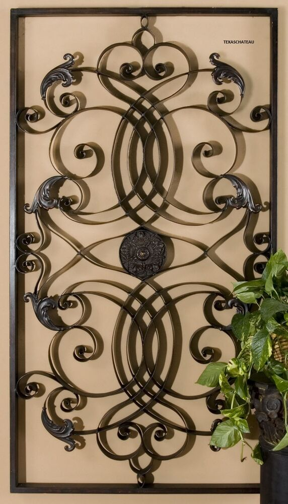 xl large tuscan scroll wrought iron metal wall grille grill wall art plaque big ebay. Black Bedroom Furniture Sets. Home Design Ideas