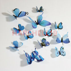 12PCS 3D Butterfly Adhensive Wall Stickers Decal PVC Home Room Decor Colourful