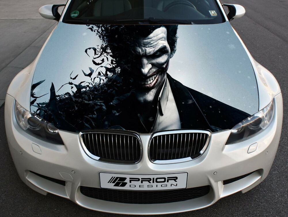 Vehicle Wrap Cost >> Vinyl Wrap Car Hood Full Color Graphics Decal Joker Villain Arkham City Sticker | eBay