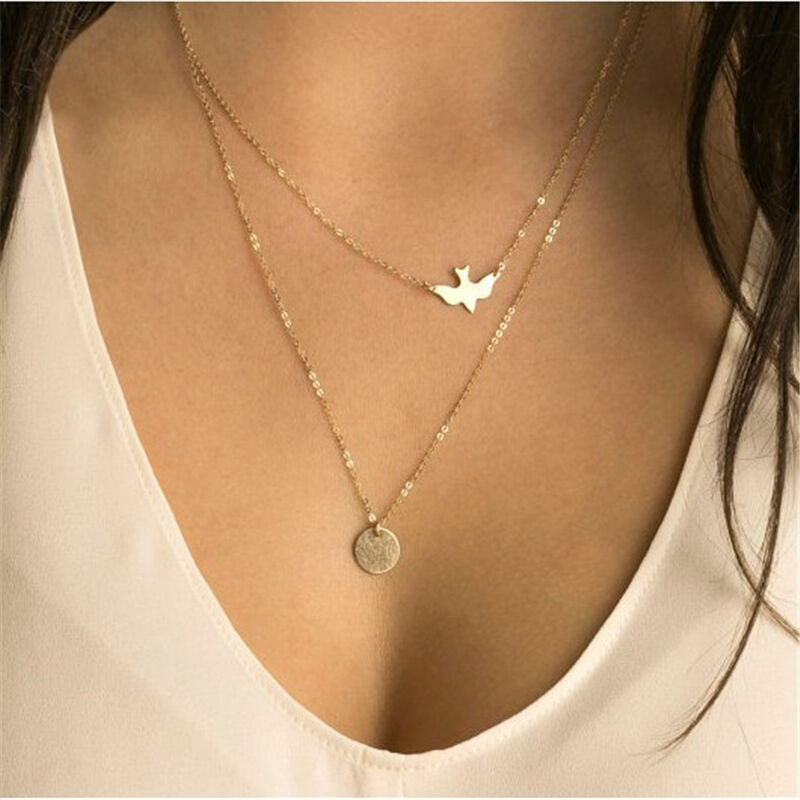 2021 Fashion Gold Double Layer Lock Pendant Necklace
