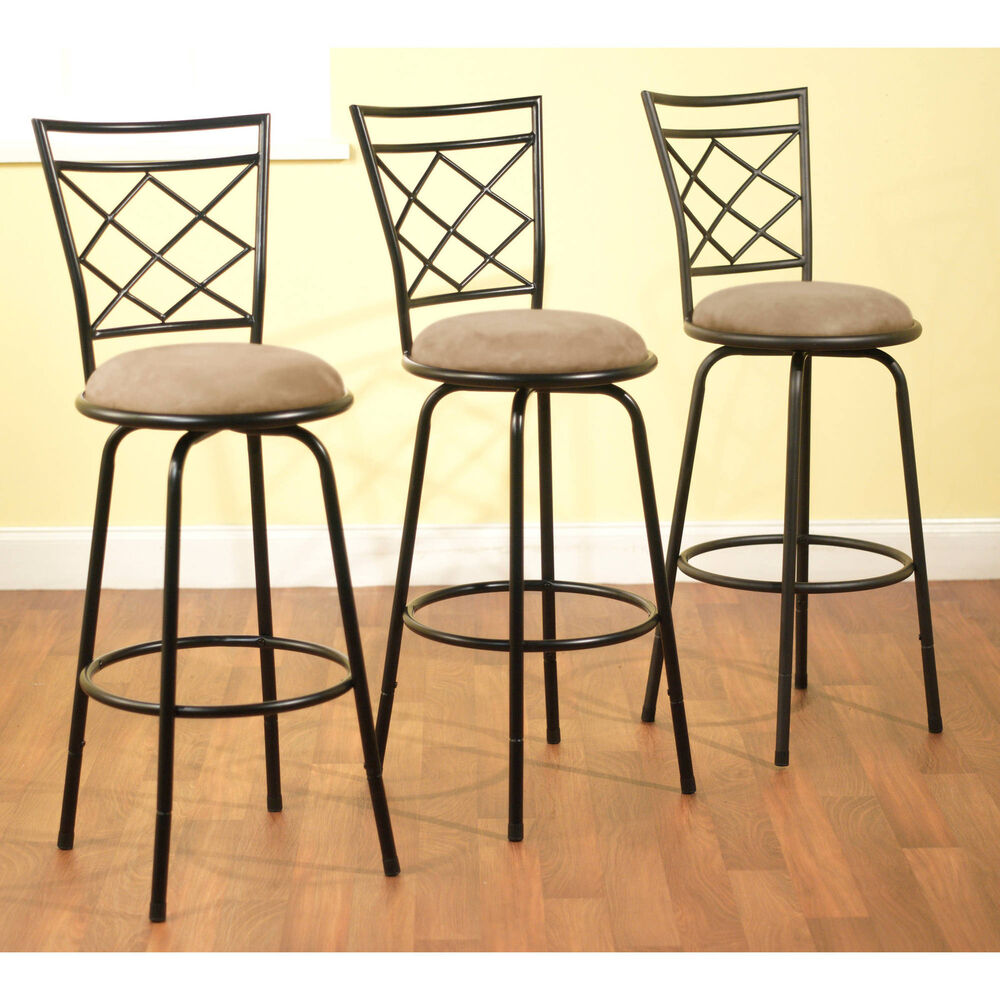 3 Bar Stools High Seat Chairs Adjustable Swivel Counter Chair With Back Kitchen Ebay