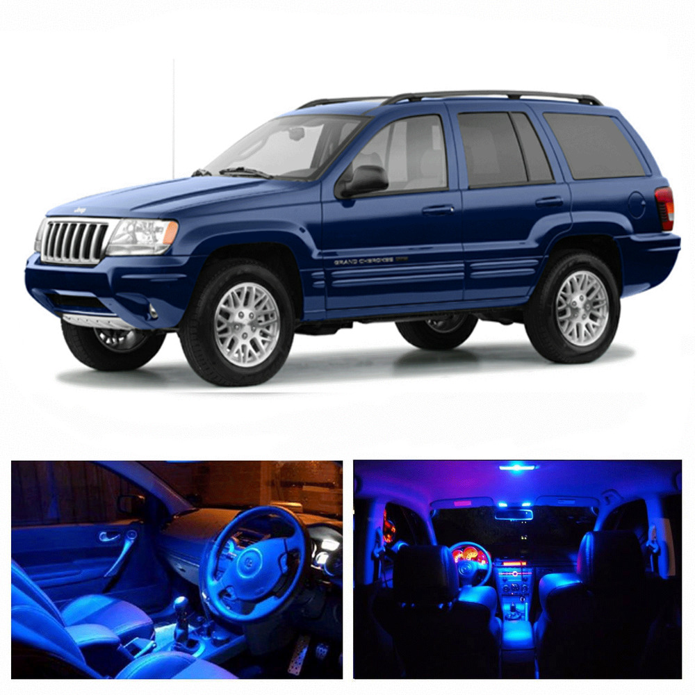 led blue lights interior package kit for jeep grand cherokee 1999 2004 10 pcs ebay. Black Bedroom Furniture Sets. Home Design Ideas