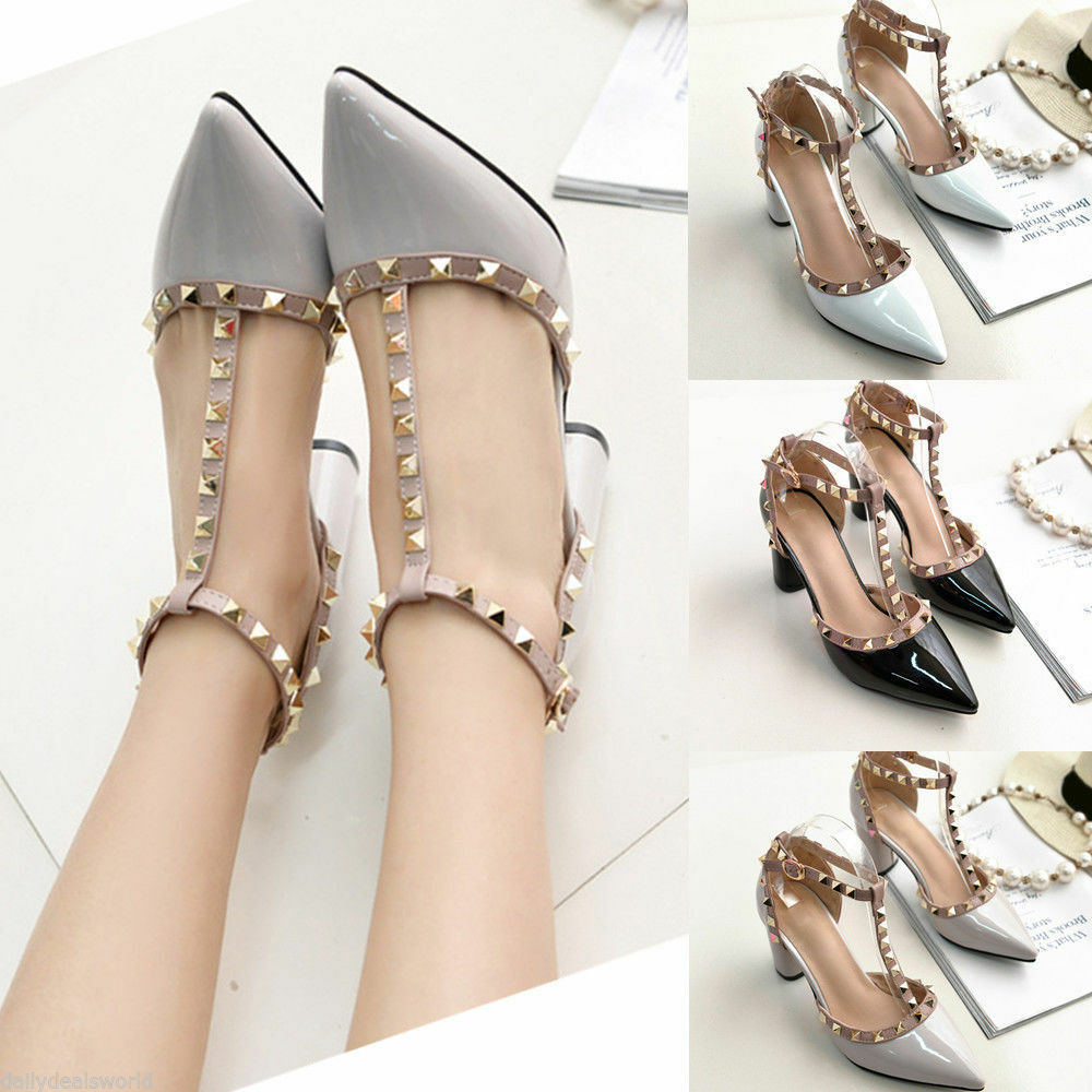 e6d88cbb0c Details about Womens Studded Shoes Pointed Toe Ankle Strappy Pumps High  Heels Rivet Sandals