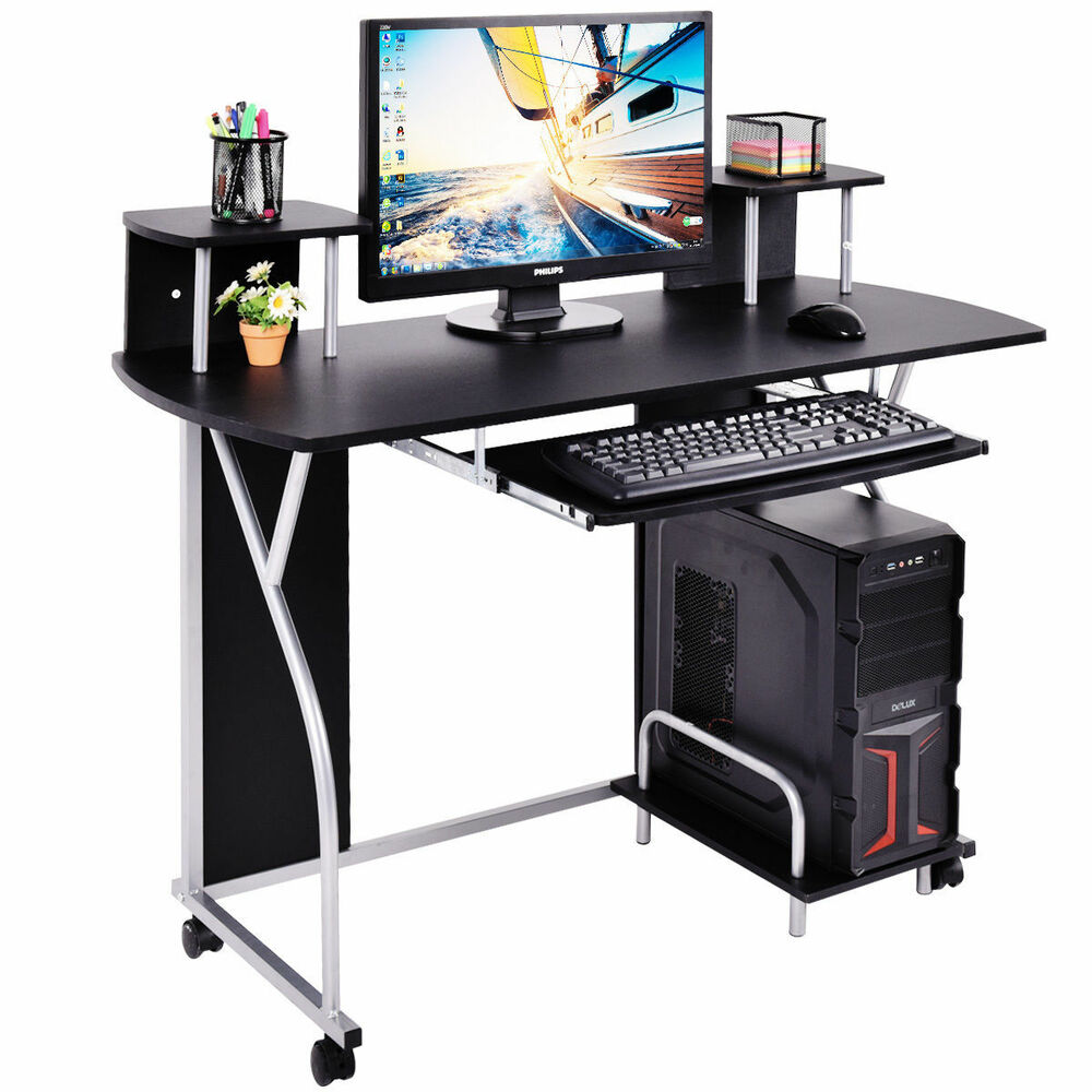 Black rolling computer desk pc laptop desk pull out tray for Home office workstation desk