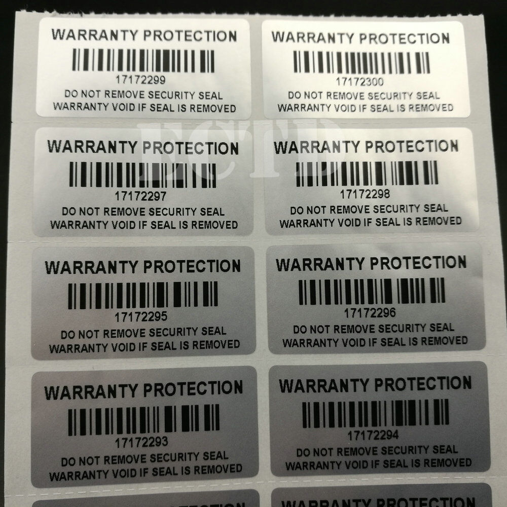 Serial Number: Warranty Protection Sticker Barcode With Serial Number