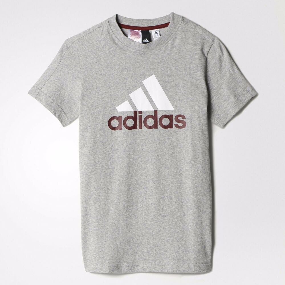 42a31271e Details about NEW ADIDAS BOYS TRAINING ESSENTIALS BIG LOGO TEE GRAY/WHITE  LOGO 7-14 YEARS