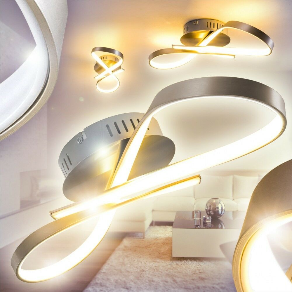 led design deckenlampe flur k chen welle leuchten schlaf wohn zimmer lampe diele ebay. Black Bedroom Furniture Sets. Home Design Ideas