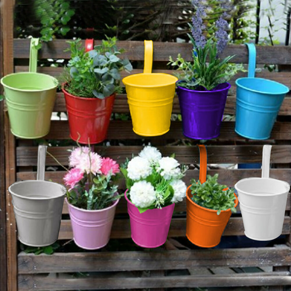 Set 10 metal flower pot colour balcony garden wall fence for Fence hanging flower pots