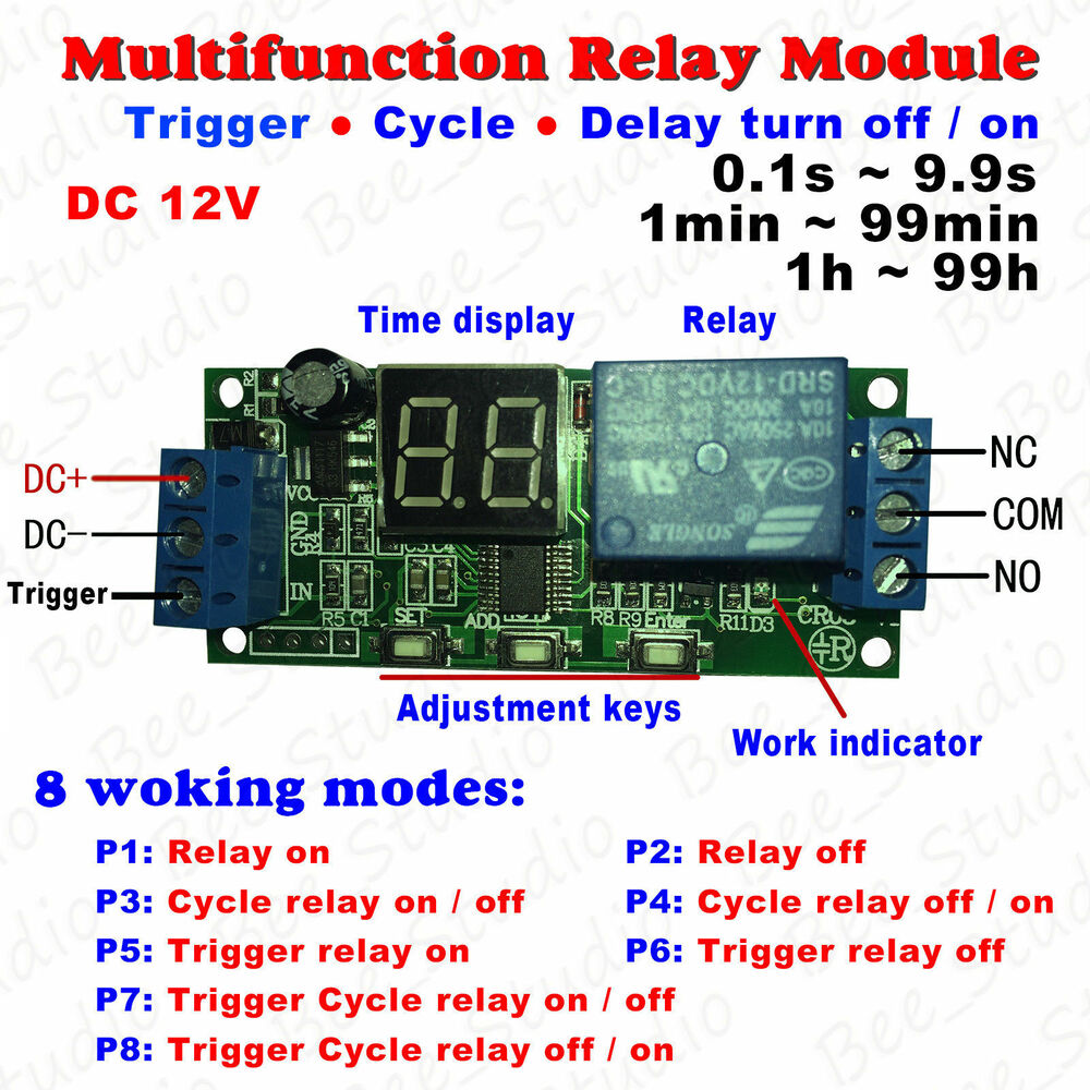 Dc 12v Multifunction Delay Timer Relay Switch Module Digital Led Circuit Infinite Cycle Ebay