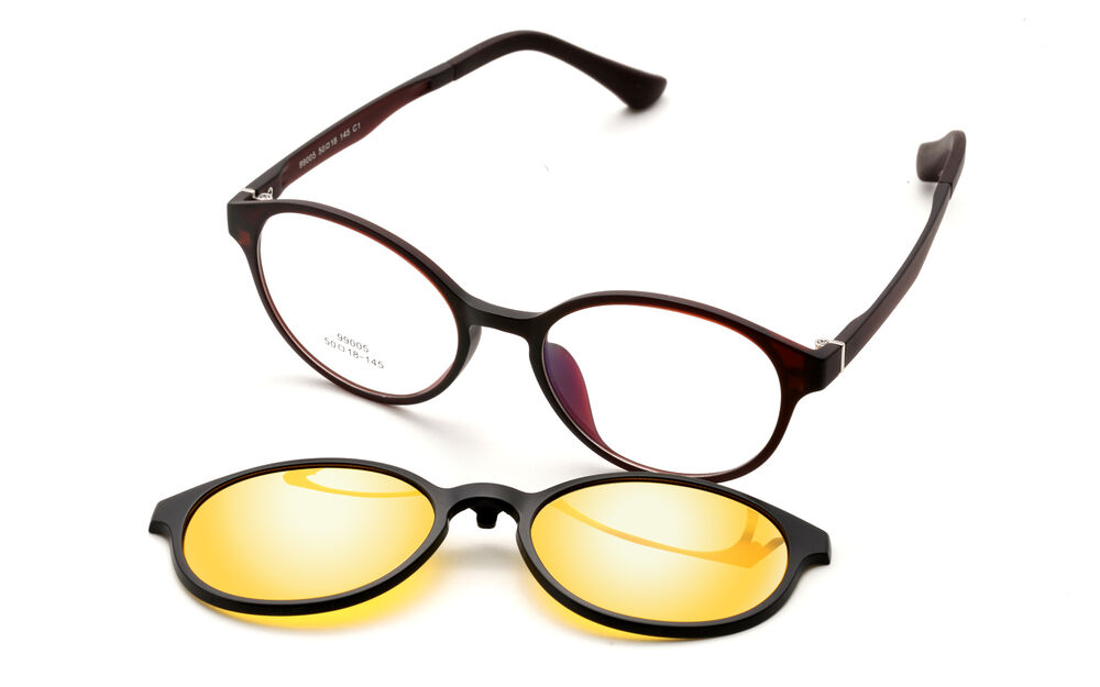 f855324b272 Details about Retro Round Magnetic Polarized Clip-on Driving Sunglasses Rx  Eyeglass Frames