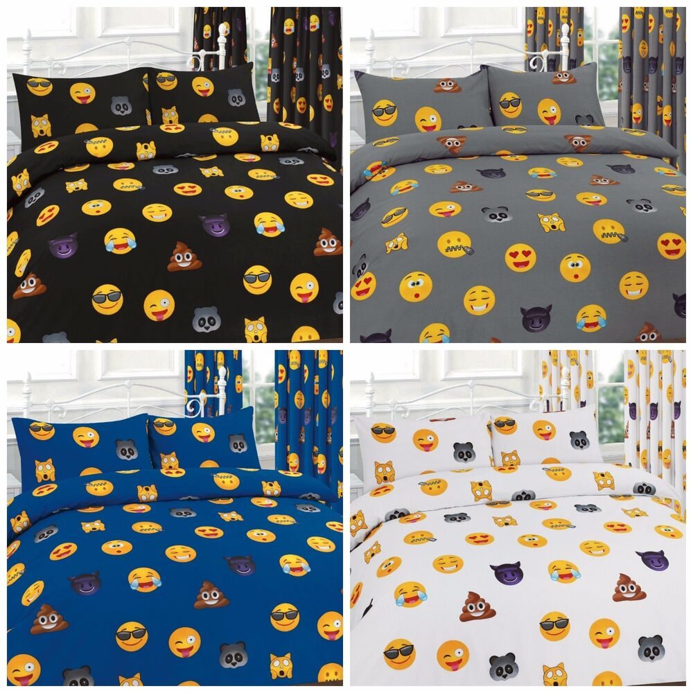 Emoji Icons Emotions Faces Printed Duvet Cover Bedding Set or Matching Curtains
