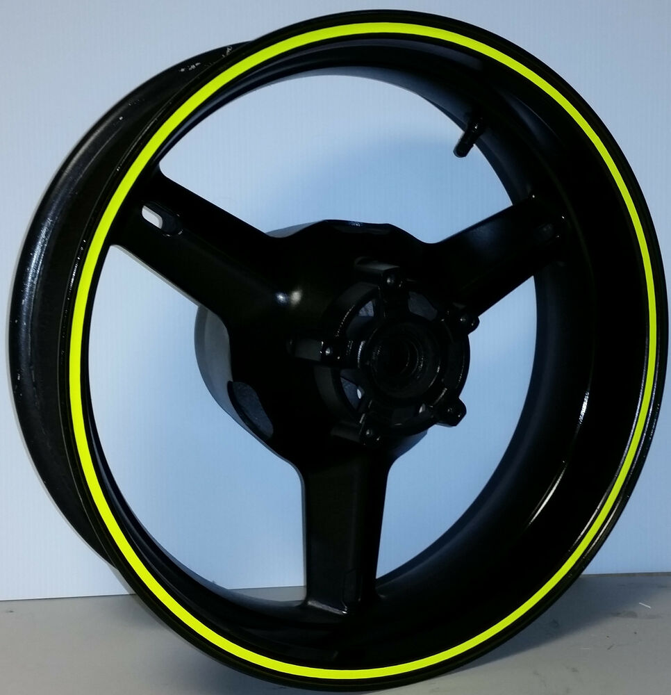 Details about fluorescent neon dayglo yellow rim stripes wheel decals tape stickers yamaha r3
