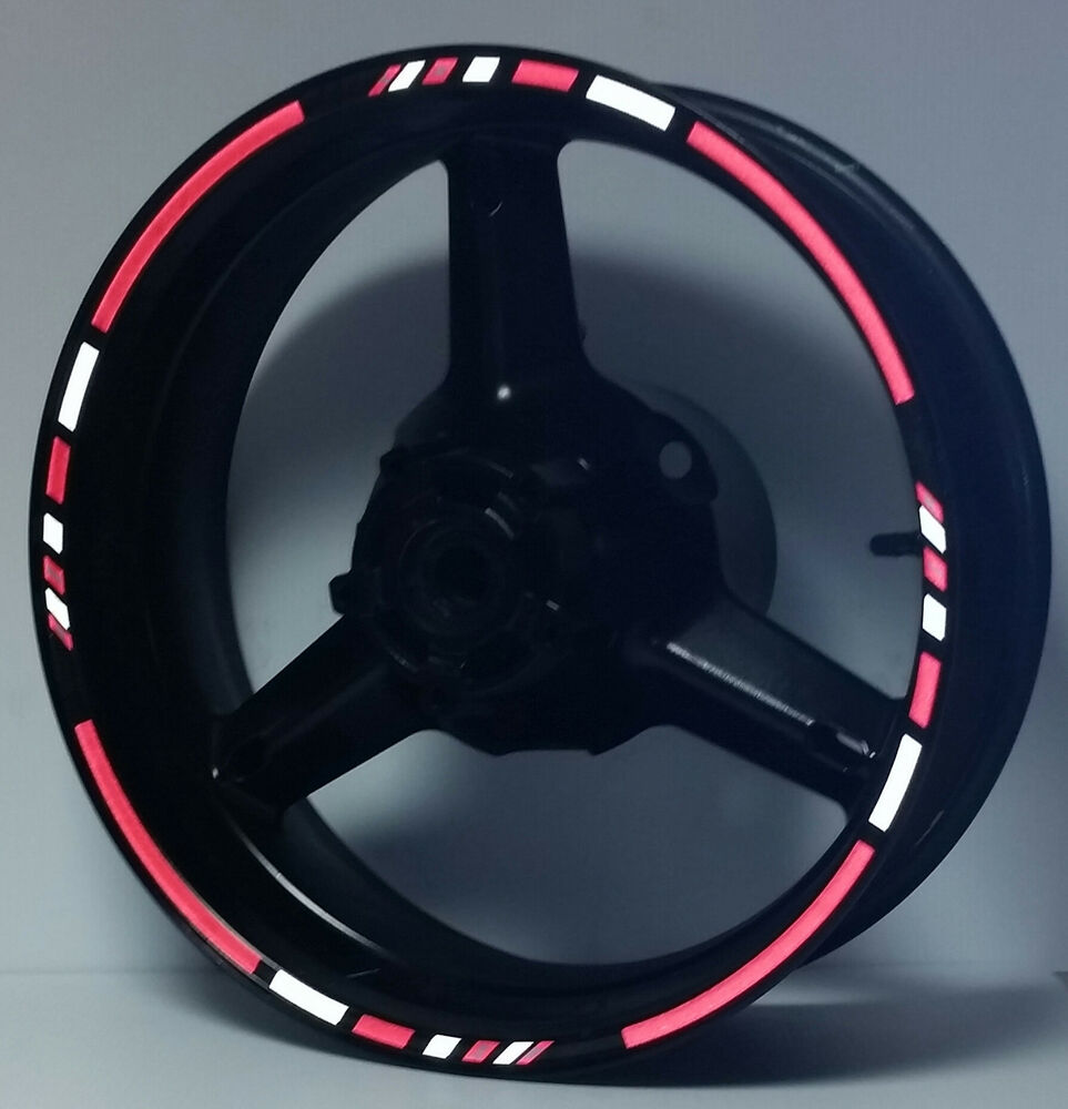 Reflective Red White Motorcycle Rim Decals Wheel Stickers