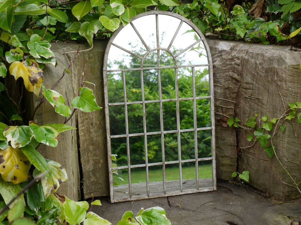 Large Decorative Gothic Arched Door Metal Framed Garden