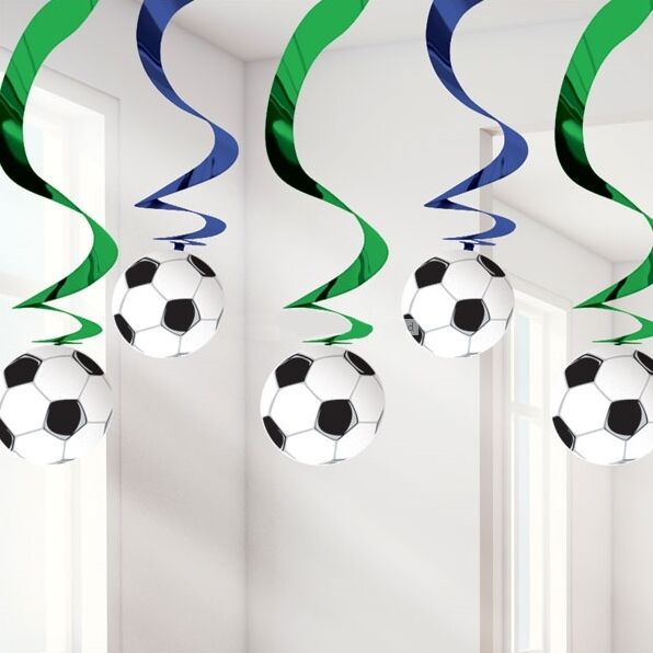 Details About Football Soccer Themed Hanging Swirl Party Decorations Boys Mens Birthday