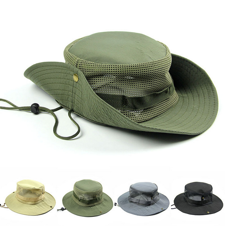 Men 39 s fishing boonie wide brim bucket caps hats breathable for Mesh fishing hats