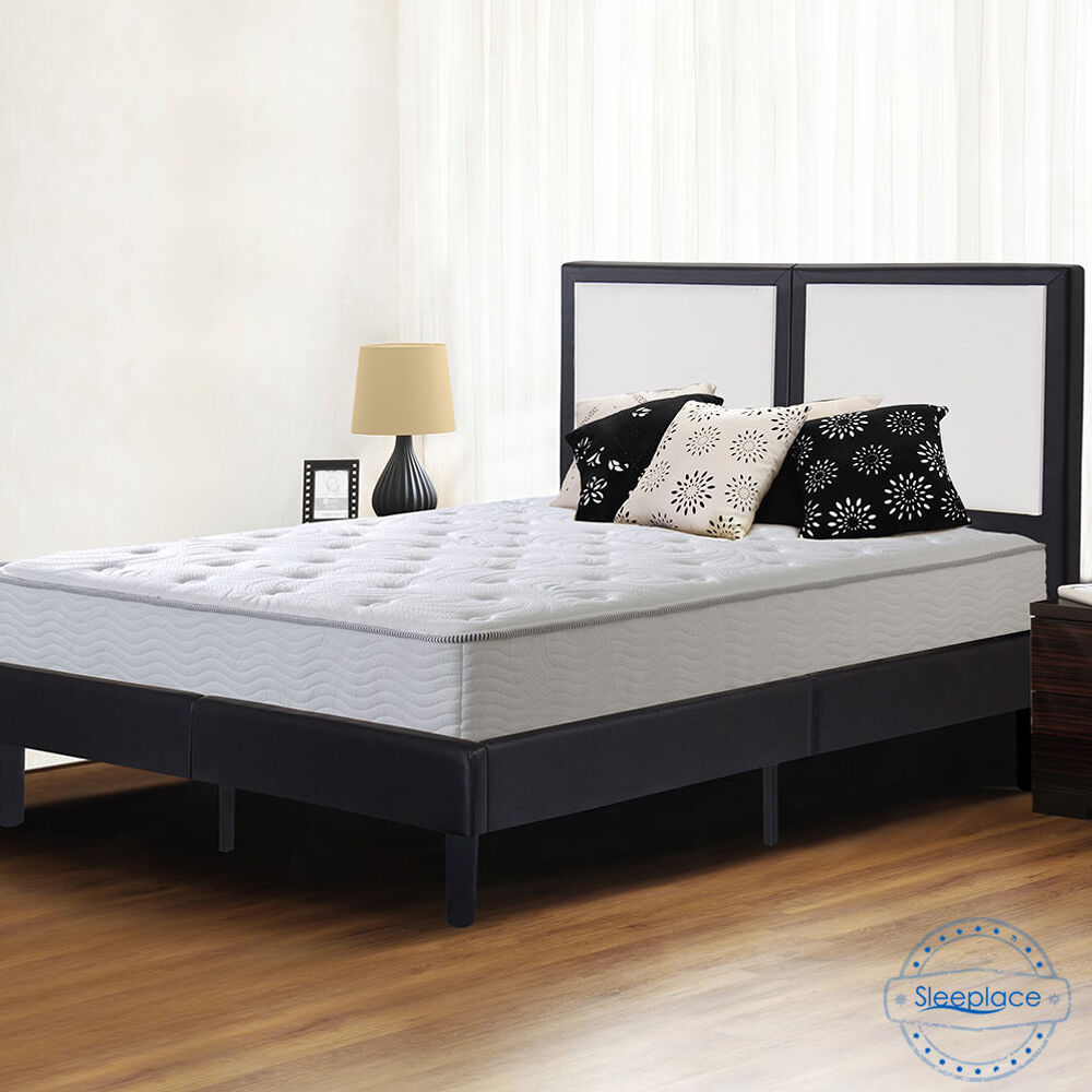 sleeplace faux leather padded headboard wood slat platform foundation bed frame ebay. Black Bedroom Furniture Sets. Home Design Ideas