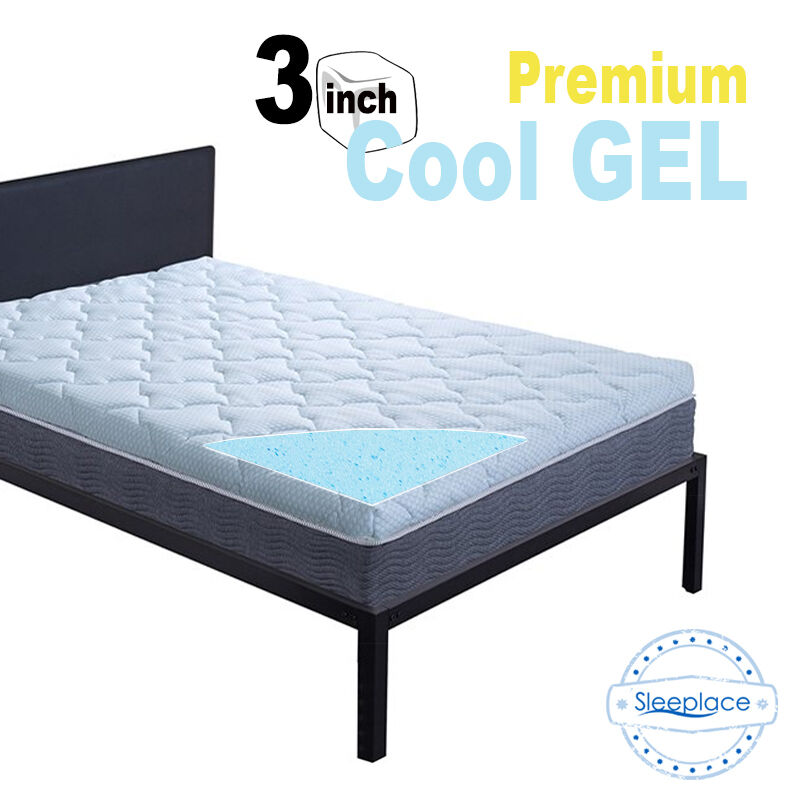 sleeplace new 3 inch premium cool gel memory foam mattress topper ebay. Black Bedroom Furniture Sets. Home Design Ideas