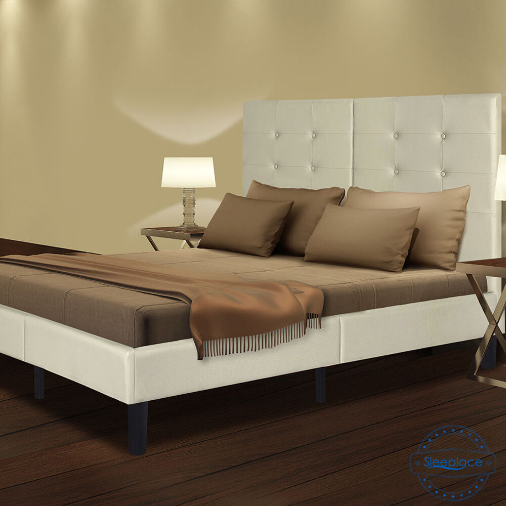 sleeplace wood slat platform bed frame with light grey faux leather headboard ebay. Black Bedroom Furniture Sets. Home Design Ideas