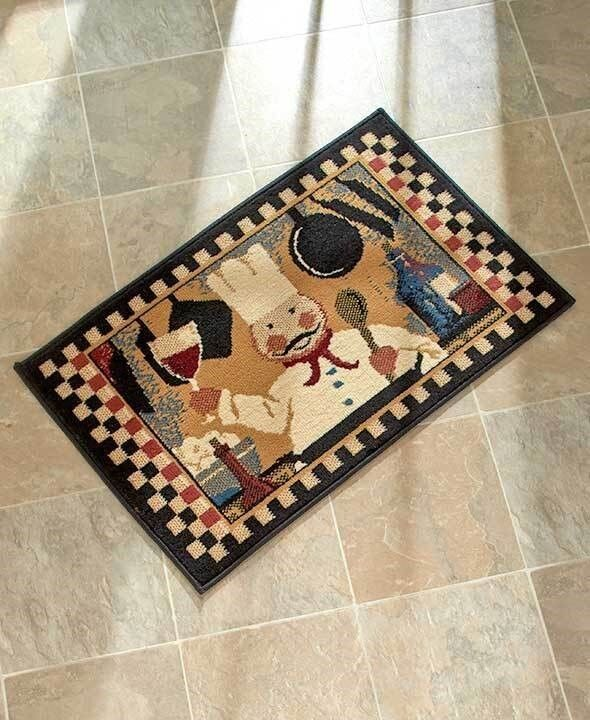 Chef Checkered Kitchen Accent Rug Fat Chef Holding Wine