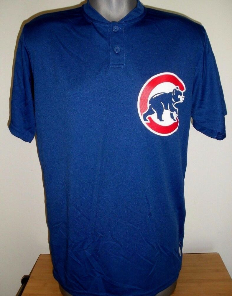 5b415bbe3 New Blue Chicago Cubs Baseball Two Button Up Men s Jersey Majestic Size  Medium